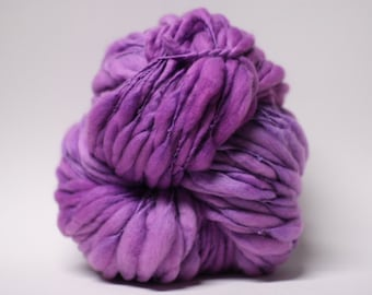 Merino Thick and Thin Handspun Yarn Wool Slub  tts(tm) Superfine Hand dyed Half-Pounder Purple Rain 01 Super Bulky