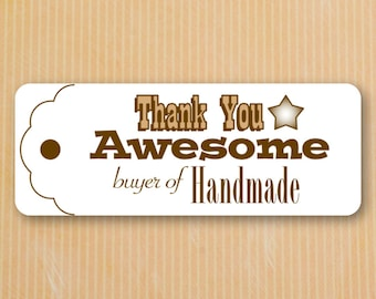 Thank You Stickers | Set of 30 Thank You Labels | Glossy Stickers | Handmade Stickers | Glossy Labels | Thank You Awesome Buyer of Handmade