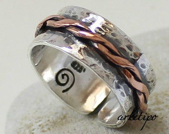Personalized  adjustable Ring of sterling silver and copper..