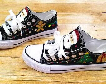 Christmas shoes, Santa shoes, Christmas tree, Christmas sneakers, wedding shoes, glitter shoes, custom sneakers