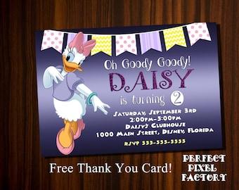 Daisy Duck Invitation,Daisy Birthday,Daisy, Daisy Duck Birthday invitation,Clubhouse Invitation,Disney invitation,Birthday Invitation,