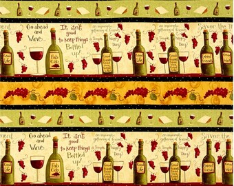 Go Ahead & Wine Strip by Dan DiPaolo for Clothworks - Light Butter