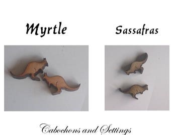Kangaroo Cabochons - Beads - Charms Lazer Cut Choose  Natural Specialty Woods Tasmanian Myrtle or Sassafras Number Choice  Made in AUSTRALIA