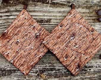 Tree Bark Pot Holder Set of 2