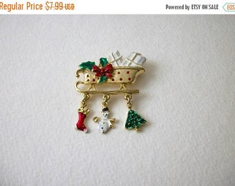 ON SALE Vintage Gold Tone Enameled Charms Christmas Pin 32417