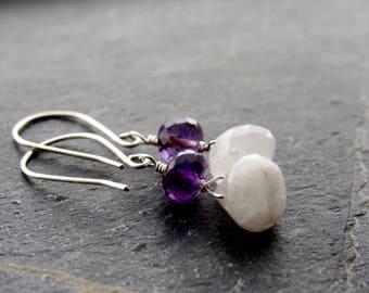 Moonstone Earrings Amethyst earrings Gemstone earrings June birthstone February birthstone gift women gift for her gift for mom