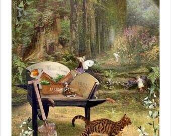 Fairy art Print - Gardeners Delight - Art Print or Ready to hang Plaque  -   Charlotte Bird