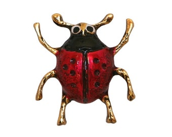 Beetle 11/16 inch ( 18 mm ) Susan Clarke Metal Button Red Black Gold