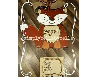 Cute Woodland Fox Door Hanger/hospital door Birth Announcement