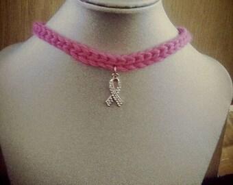 Hot pink crocheted choker