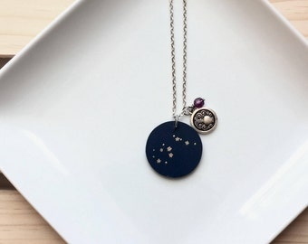 Zodiac Necklace // Constellation Necklace // Charm Necklace // Aquarius // Birthstone