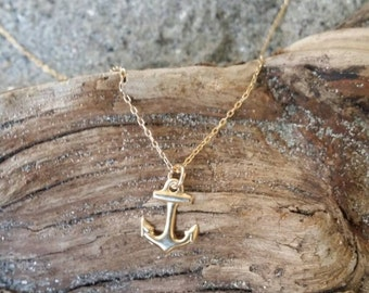 Tiny Anchor, Gold, Tiny Pendant