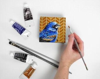 Blue Grosbeak - blue songbird painting - modern bird art - woodland bird decor - birdwatching art - birdwatcher gift - geometric herringbone