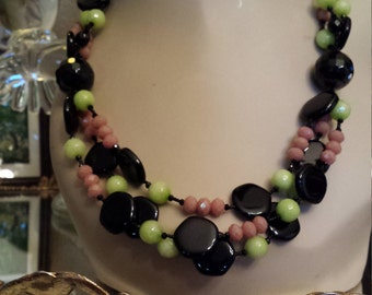 Three strand black onyx, jade and artist cut glass designer necklace