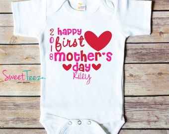 Happy First Mother's Day Shirt Heart Girl Baby Bodysuit Personalized with Year and Name Mother's Day Gift