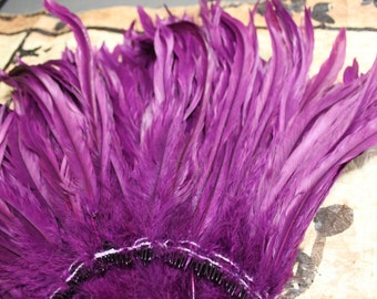 Coque feathers-length 12-14 inches-color grape-purple-millinery, Tahitian costume, polynesian costume