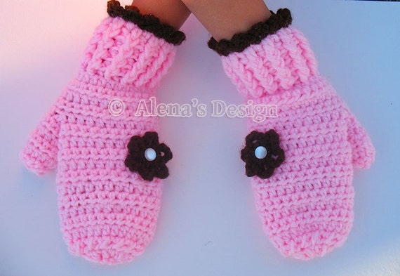 Crochet Pattern 116 - Crochet Mitten Pattern for Children's Mittens - Mittens Patterns - Crochet Glove Pattern -Kids Mittens Toddler Mittens