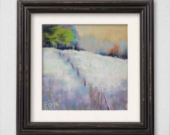"""Original Pastel Painting """"Abstract Snowy Landscape"""""""