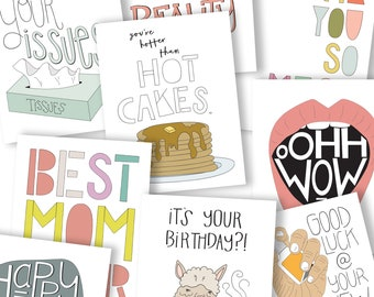 GREETING CARD BUNDLE, Five Cards for Twenty Bucks, 5 for 20, Birthday Card, Love Card, Thank you Card, Congrats Card, Funny Cards,