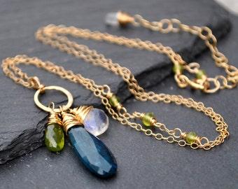 Moss Kyanite Necklace, Rare Teal Blue Royal Moss Kyanite, Vesuvianite & Rainbow Moonstone Pendant, Luxe Gold Gemstone Pendant Necklace