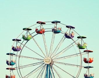 ferris wheel art, toddler boy room, Ferris wheel print, carnival wall art, aqua blue wall art, nursery decor boy, ferri wheel photo