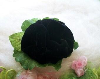 Flower Hair Clip Black Silk Velvet Rose Green Leaves and Foliage Velvet Rose Lapel Clip Scarf Clip Collar Clip Hat Clip Handmade