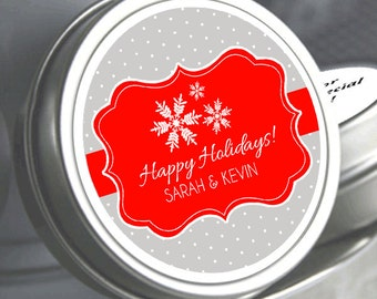 12 Personalized Snowflake Mint Tins Favors - Filled with your choice of candy - Christmas Mint Tins - Happy Holiday - Wedding