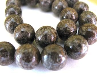 Jasper beads, 22 beads, 10mm, brown, patterned, Jewelry supply B-1396