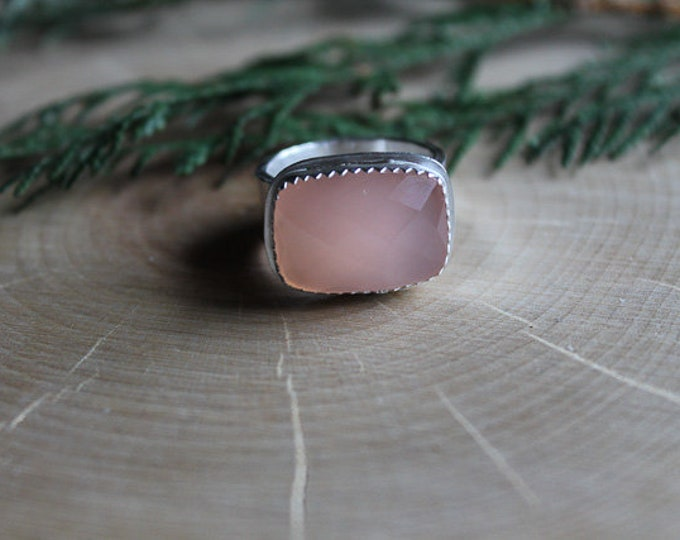 Size 7 Pink Chalcedony Ring