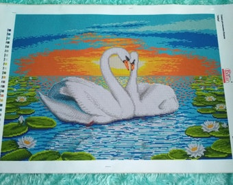 Swans Landscape Nature Bead Embroidery kit Beadwork Kit for embroidery Set for embroidery Beaded Embroidery beads and canvas Wall decor