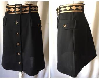 70's button down black polyester skirt with belt & pockets | Medium