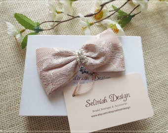 Pink Lace Bow, Women Bow, Bow Hair Clip, Pink Hair Barrette, Girl Hair Bow by Selinish Design