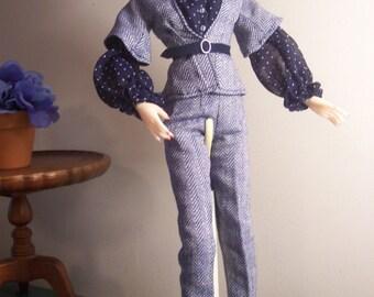SALE! Jamieshow - Numina - Ficon - FR 16 - Crisp Navy and White Outfit - Pants, Jacket, Blouse, Belt