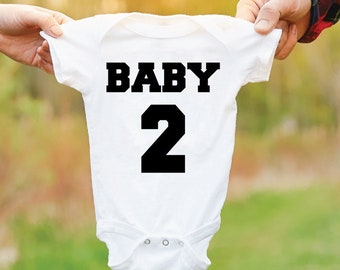 Baby 2 Bodysuit. Second Baby Gift. Baby Number 2. Baby Grow. 2nd Baby Outfit. Newborn Gift.