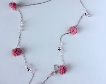 Rose Fabric Necklace