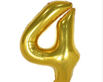 """40"""" Gold Number Four 4 Balloon, Birthday Party and New Year Party etc ... 1,2,3,4,5,6,7,8,9,0"""