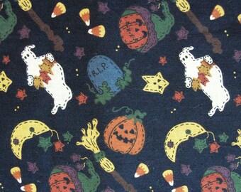 3 1/3 yards Halloween Cotton Fabric / Leslie Beck V.I.P. Fabrics / Cranston Print Works