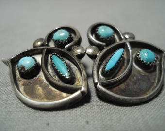 Fabulous Vintage Zuni Needlepoint Turquoise Silver Earrings Old