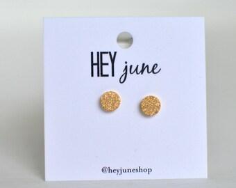 Gold sparkle stud earrings, sparkle circle earrings, small sparkle stud earrings, minimalist earrings, silver sparkle stud earrings