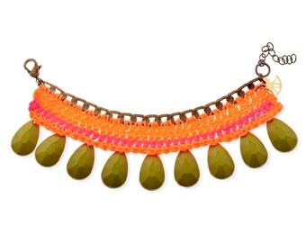 Unique Bracelet for her, Neon Pink Orange tribal Bracelet, handmade croched and beads custom bracelet, summer jewelry