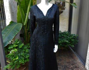 Vintage 1960's Long Black Brocade Evening Dress - Size 12