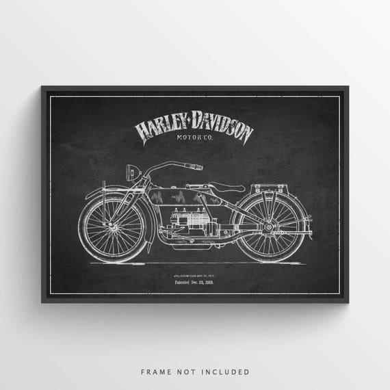1919 Harley Davidson Patent Wall Art Poster Harley Davidson