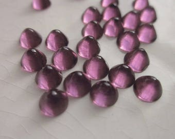 Vintage Glass Cabochons, Transparent Purple, 4.5mm Pointed Dome with Flat Back