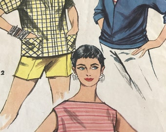 Cute Bateau Neck Shirt and Overblouse Pattern---Simplicity 1172---Size 12  Bust 30