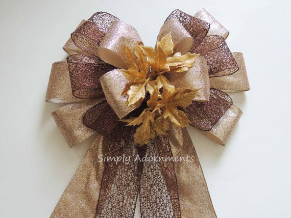 Brown Gold Christmas Bow Brown Gold Christmas Topper Tree Bow rustic gold brown Christmas Wreath Bow Christmas Wreath Door Hanger Bow Decor