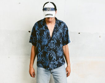 Botanical Print Shirt . Vintage Mens Vacation Shirt Tropical Leaf Patterned Blue Shirt 90s Summer Top Indie Mens Fashion . size Large