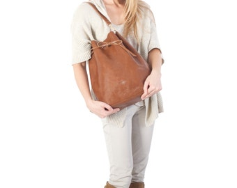 Brown bucket bag - brown leather everyday bag - carry everthing with style!
