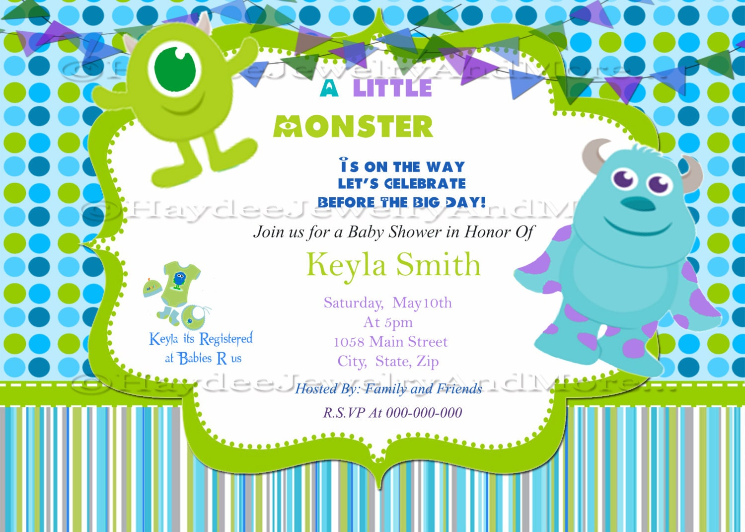 Monster inc baby shower invitation zoom filmwisefo