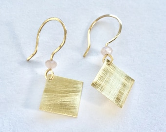 Earrings raw brass square simple handmade Rusted Pearl