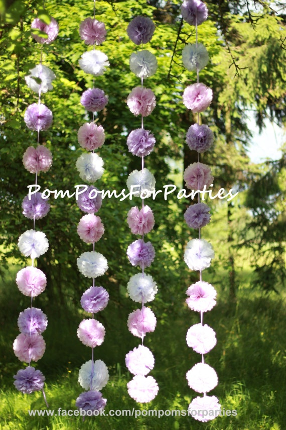 Hanging garland small size paper pom poms open air party hanging garland small size paper pom poms open air party backyard decorations wedding dinner outside party birthday baby shower junglespirit Image collections